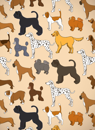 Greeting card with unusual pattern with cute cartoon dogs. Different breeds. Illustration