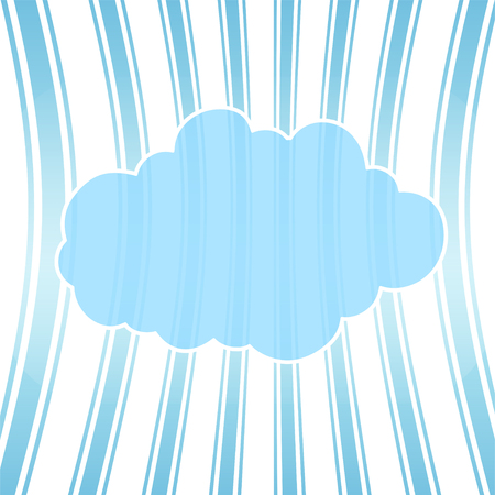 Cartoon cloud with shadow on striped background. Can be used for greeting cards, web pages design.