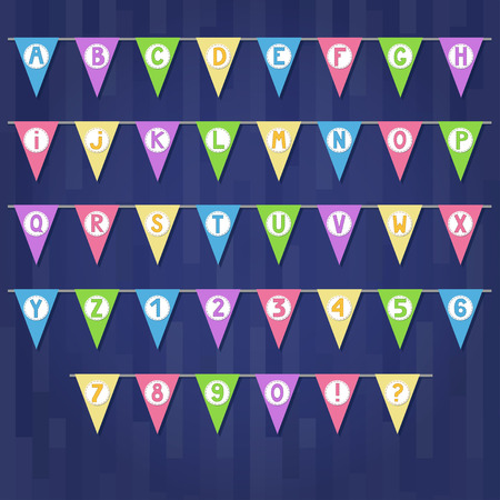 fairs: Set of cartoon colored flag garlands with alphabet: letters and numbers.  Good for events, celebrations, festivals, fairs, markets, party and carnival.