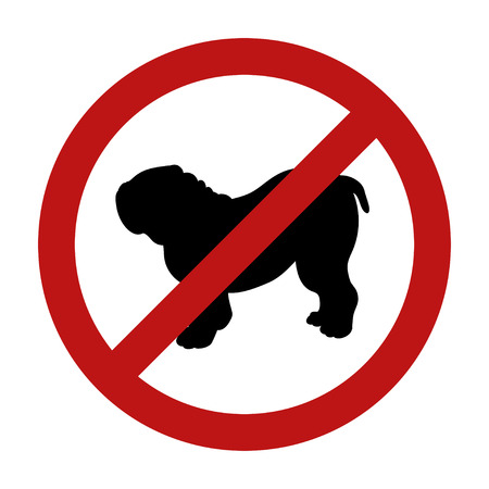 Sign of dog prohibition isolated on white background. Black silhouette. Breed bulldog. Vector illustration. Illustration