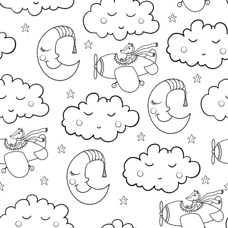 jointless: Awesome seamless patterm with cartoon sleeping clouds and crescent, cute fox pilot on the aircraft. For textile, fabric, bedroom interiors: wallpaper, pillow, blanket, pajamas. Good for restful sleep.