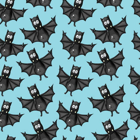 Seamless pattern with funny cartoon bats Illustration
