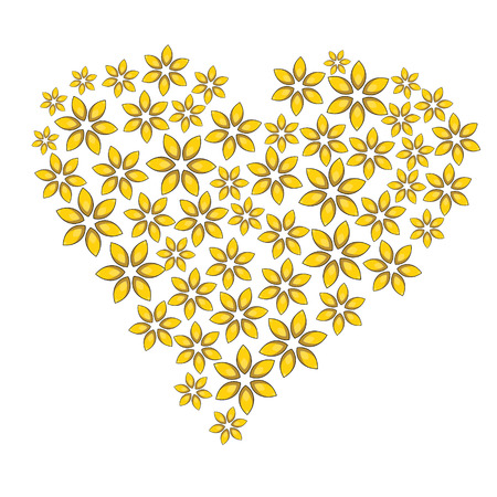 Cartoon floral heart with yellow flowers. Can be used for, greeting cards, wrapping paper, scrap booking.