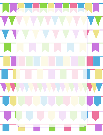 violet red: Vertical greeting card with set of cartoon flag garlands isolated on white background. Good for events, celebrations, festivals, fairs, markets, party and carnival. Illustration