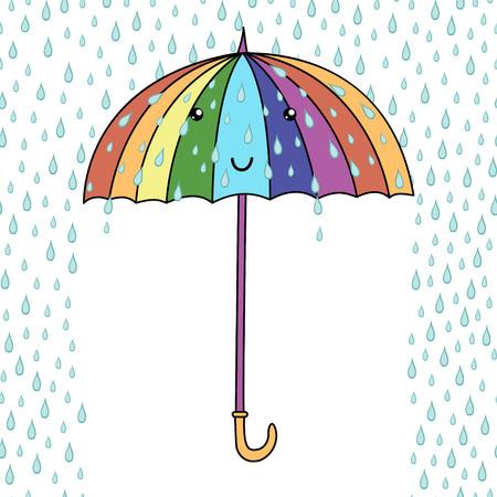 cartoon umbrella: Cute cartoon smiling umbrella with face. Rainfall. Emoji. Vector illustration. Illustration