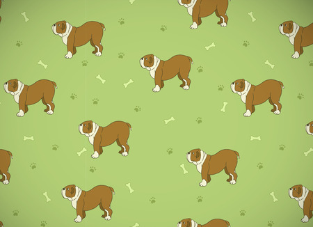 Awesome greeting card. seamless pattern with cute dogs. Breed bulldog.  illustration.