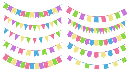 Set of cartoon flag garlands isolated on white background. Good for events, celebrations, festivals, fairs, markets, party and carnival.