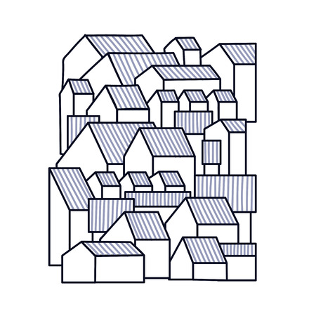 Unusual background with little town or village. Grable residential houses. Vector illustration.