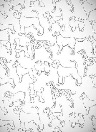 Grußkarte mit niedlichen Cartoon-Hunde. Verschiedene Rassen. Muster ist gut für Tapete, Musterfüllungen, Grußkarten, Webseitenhintergründe, Packpapier und Gewebe oder Gewebe. Illustration. Standard-Bild - 85308885