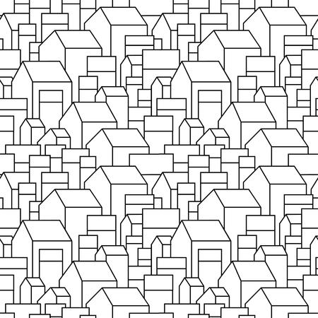 Ongebruikelijke achtergrond met kleine stad of dorp. Grijpen woonhuizen. Vector illustratie. Zwarte contour op witte achtergrond.