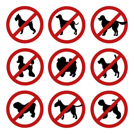 Set of dog prohibition signs. Different breeds. Black silhouettes. Isolated on white. Vector illustration. Illustration