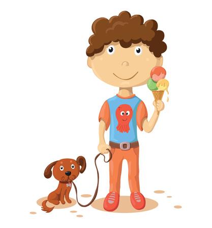 Cartoon boy with dog isolated on white background Illustration