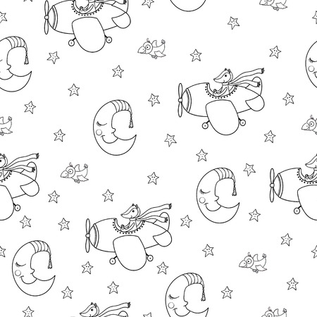 Awesome seamless patterm with cartoon crescent, stars and cute fox pilot on the aircraft. For textile, fabric, bedroom interiors: wallpaper, pillow, blanket, pajamas. Good for restful sleep. Ilustrace