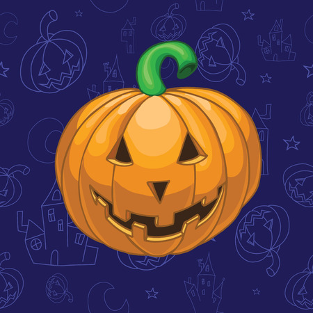 Pumpkin on beautiful halloween background