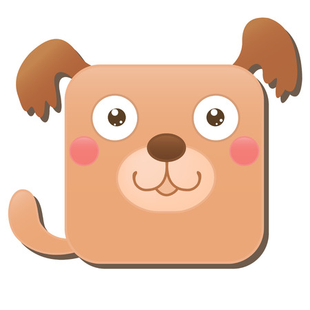 Cute square dog. Vector illustration isolated on white background. Good for mobile game design, ui, icons, avatars.