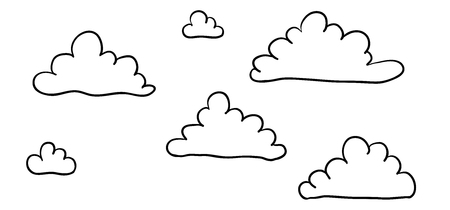 Cute cartoon contour clouds isolated on white background. Vector illustration. 向量圖像
