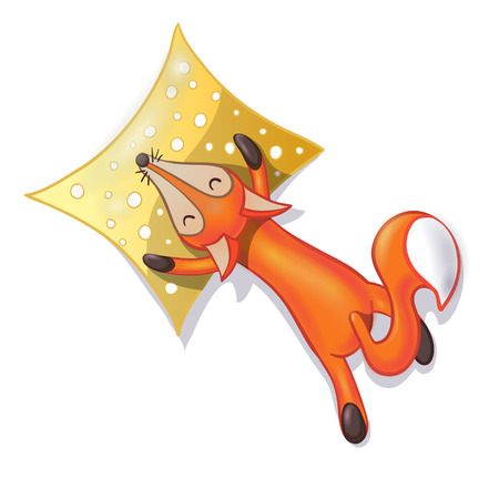 Cute cartoon sleeping fox with pillow isolated on white background. Good night! Sweet dreams!  illustration.
