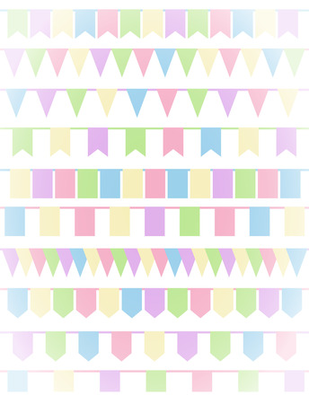 fairs: Vertical greeting card with set of cartoon flag garlands isolated on white background. Good for events, celebrations, festivals, fairs, markets, party and carnival. Illustration