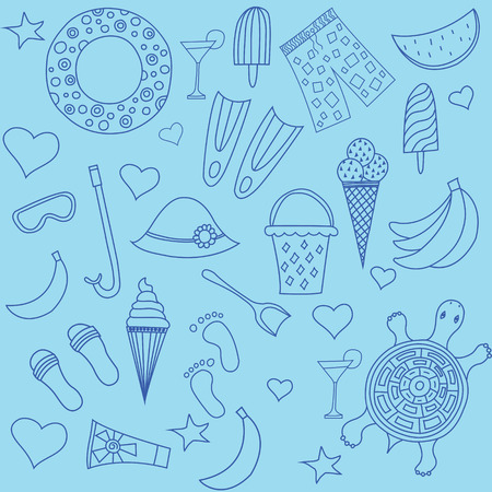 Interesting seamless pattern with beach Illustration