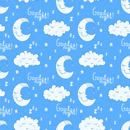 Seamless pattern with cartoon sleeping moon, cloud and star. Good night! Can be used for wallpaper, pattern fills, greeting cards, web page backgrounds, wrapping paper or fabric. Vector illustration. EPS 10.