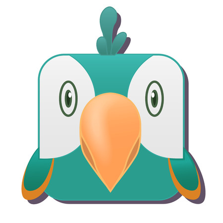 Cute square parrot. Vector illustration isolated on white background. Good for mobile game design, ui, icons, avatars.