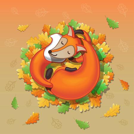 Cute cartoon fox sleeping on oak leaves vector
