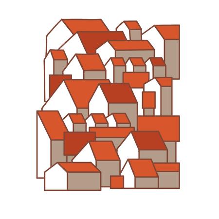 Leuke cartoonstad. Rode dakhuizen. Geïsoleerd op witte achtergrond Vector illustratie.