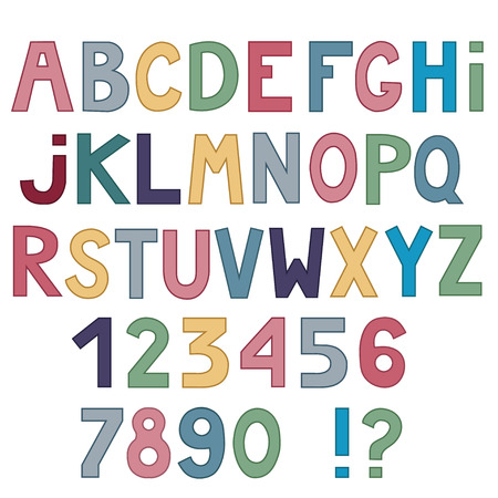 Set of cute colored letters and numbers isolated on white background.  illustration. Ilustração