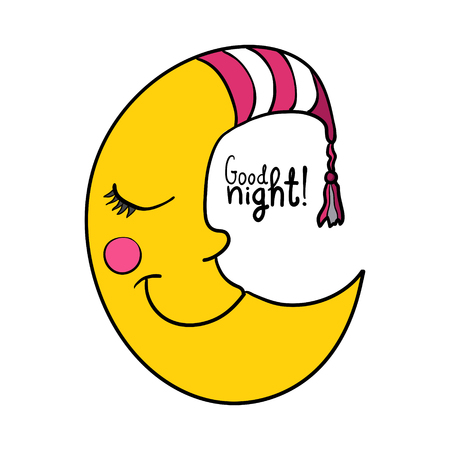Cartoon sleeping moon in striped nightcap isolated on white background. Good night!