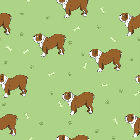 Unusual seamless pattern with cute dogs, bones and paws. Breed bulldog.  Good for wallpaper, pattern fills, greeting cards, webpage backgrounds, wrapping paper and textile or fabric.  illustration.