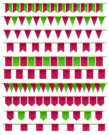 fairs: Set of cartoon flag garlands isolated on white background. Good for events, celebrations, festivals, fairs, markets, party and carnival.