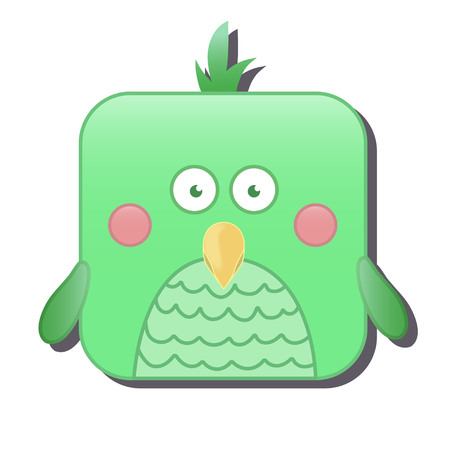 Cute square green bird. Vector illustration isolated on white background. Good for mobile game design, ui, icons, avatars. Illustration