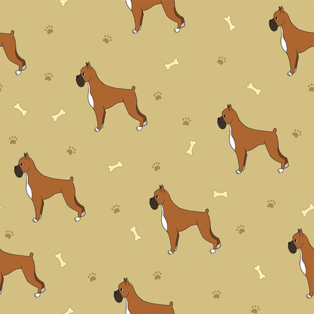 Awesome seamless pattern with dogs bones and paws. Boxer breed. For wallpaper, pattern fills, greeting cards, webpage backgrounds, wrapping paper and textile or fabric.  illustration.