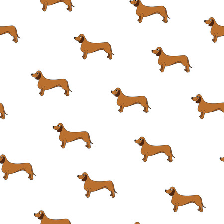 Unusual seamless pattern with cute dog. Breed dachshund. Can be used for wallpaper, pattern fills, greeting cards, webpage backgrounds, wrapping paper and textile or fabric.  illustration.