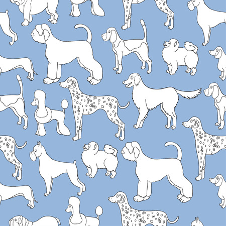 Unusual seamless pattern with cartoon dogs. Different breeds. Good for wallpaper, pattern fills, greeting cards, webpage backgrounds, wrapping paper and textile or fabric.  illustration.