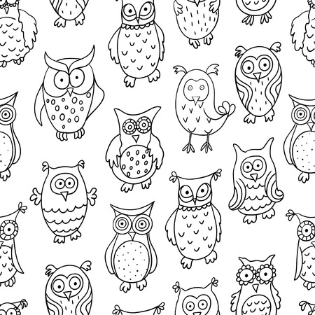 174 sage character stock vector illustration and royalty free sage  cute seamless pattern with cartoon wise different owls isolated on white background good for fabric