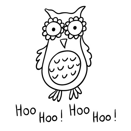 Cute cartoon wise owl isolated on white background. Good for coloring. Hoo-hoo!