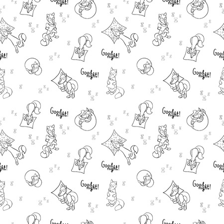 Seamless pattern with sleeping foxes with pillows. Can be used for wallpaper, pattern fills, greeting cards, webpage backgrounds, wrapping paper, scrap booking and textile or fabric.