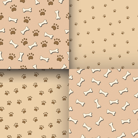 jointless: Set of seamless patterns with paws and bones. Good for textile, fabric, zoo shops advertising, wrapping paper Illustration