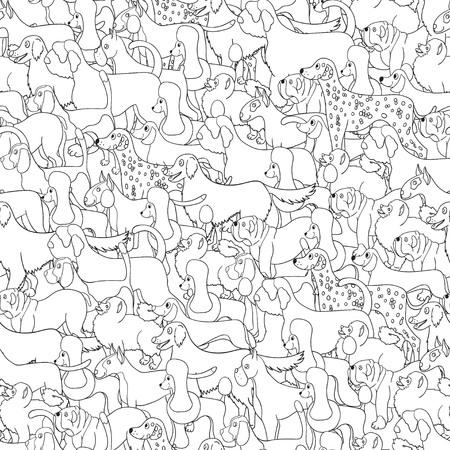 Nettes nahtloses Muster mit Karikaturhunden. Satz von Rassen. Für Hintergründe, Tapeten, Abdeckungen, Textil-, Stoff- und Geschenkpapier. Illustration. Standard-Bild - 85385183
