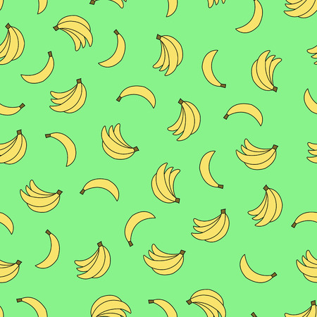 Seamless pattern with bananas on green background. Can be used for wallpaper, pattern fills, greeting cards, webpage backgrounds, wrapping paper, scrap booking and textile or fabric.