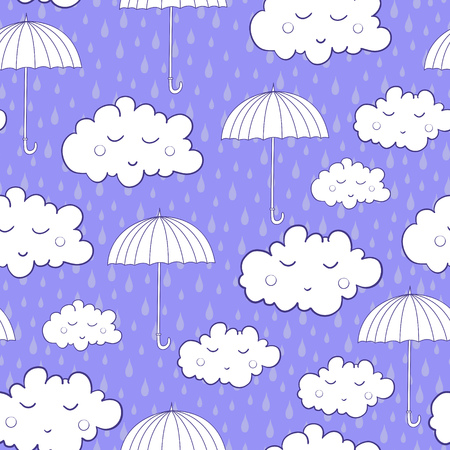 cartoon umbrella: Seamless pattern with cute sleeping clouds and umbrellas. Can be used for wallpaper, pattern fills, greeting cards, webpage backgrounds, wrapping paper or fabric. Illustration
