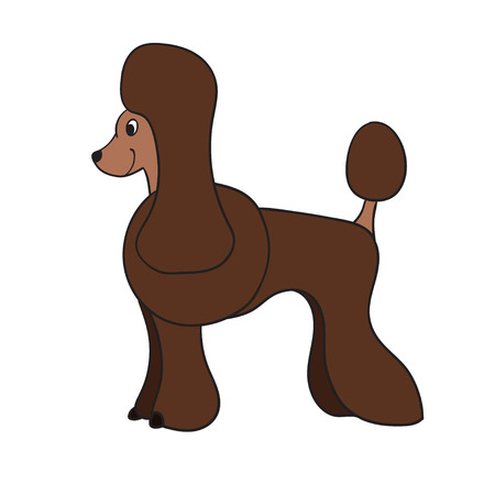 Cute cartoon brown poodle isolated on white background. Funny dog. Vector illustration. Eps 10. Illustration