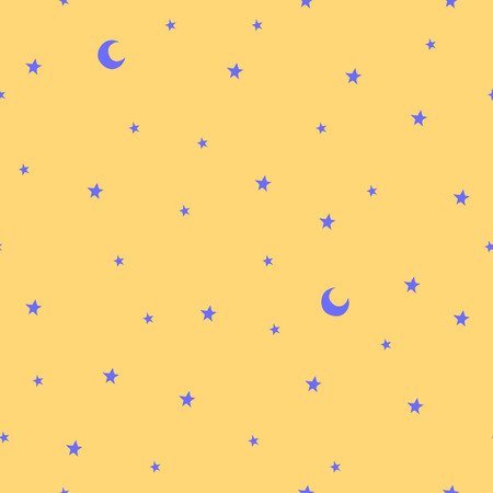 Seamless pattern with stars and moon. Good night! Can be used for wallpaper, pattern fills, greeting cards, webpage backgrounds, wrapping paper, scrap booking and textile or fabric.