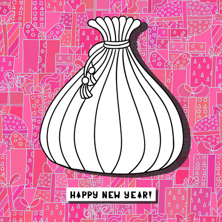 Cute cartoon bag with presents on unusual background. Greeting card. Happy new year. Merry christmas.  illustration.