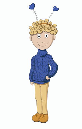 Boy in a sweater isolated on white background Illustration