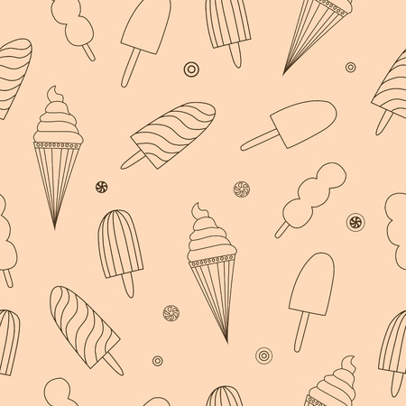 Seamless pattern with ice-cream. Can be used for wallpaper, pattern fills, greeting cards, webpage backgrounds, wrapping paper, scrap booking or fabric.