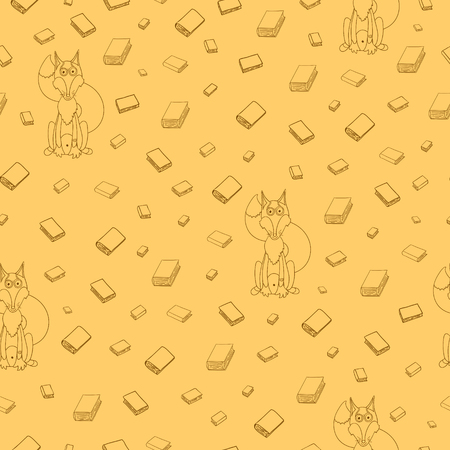 Fun seamless pattern with cartoon books and clever fox in glasses. Can be used for wallpaper, pattern fills, greeting cards, webpage backgrounds, wrapping paper or fabric. Vector illustration. EPS 10.