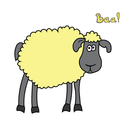 Cute fun cartoon sheep isolated on white background. Ilustração