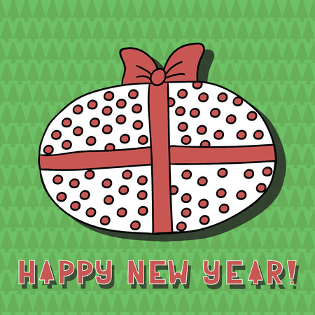 Cute cartoon gift on background with firtrees Greeting card. Happy new year. Merry christmas. Vector illustration. Illustration